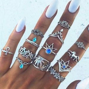 NEW! 3/$30 Dainty Boho Antique Silver Ring Set